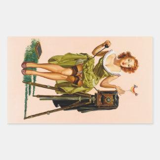 Vintage Camera Pinup girl Rectangle Sticker
