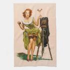 Vintage Camera Pinup girl Tea Towel