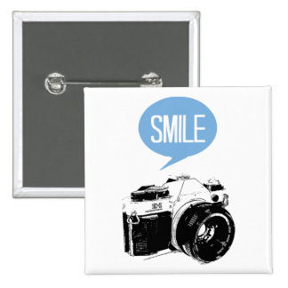 Vintage Camera, Smile Text Balloon, Photographer Pinback Button