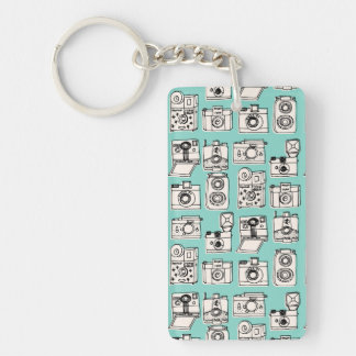Vintage Cameras - Pale Turquoise / Andrea Lauren Double-Sided Rectangular Acrylic Key Ring