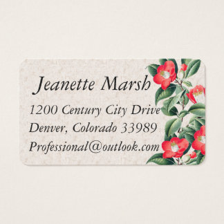 Vintage Camillia Flowers Business Cards