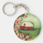 Vintage Camper Basic Round Button Key Ring