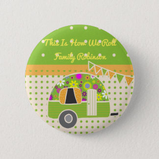 Vintage Camper Orange Green Polkadots Personalized 6 Cm Round Badge