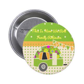 Vintage Camper Orange Green Polkadots Personalized 6 Cm Round Badge