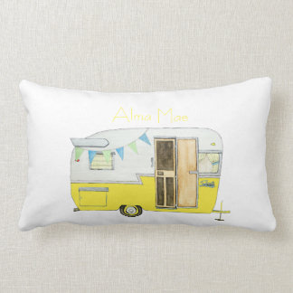 Vintage Camper Trailer in Yellow Lumbar Pillow