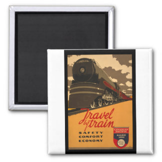 Vintage Canadian Rail Road Trail Poster Square Magnet