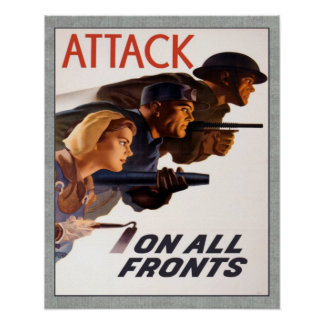 Vintage Canadian WW2 Attack On All Fronts Poster