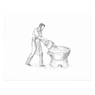 Vintage Candlemaker Foundry Drawing Postcard
