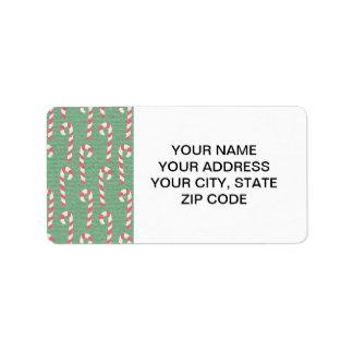 Vintage Candy Canes Pattern Address Label