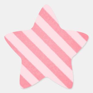 Vintage Candy Stripe Coral Persimmon Grunge Star Sticker