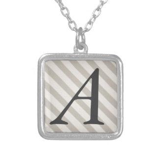 Vintage Candy Stripe Dove Gray Primitive Stripes Personalized Necklace