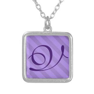 Vintage Candy Stripe Lavender Purple Grunge Custom Necklace