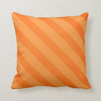 Vintage Candy Stripe Tangerine Orange Grunge Cushion