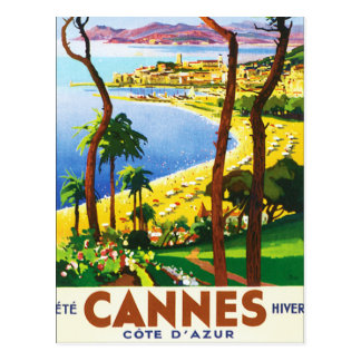 Vintage Cannes Cote D'Azur French Travel Poster Postcard