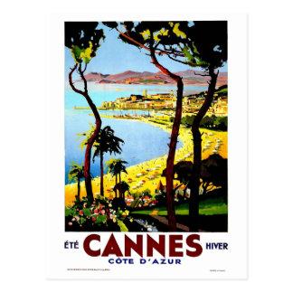 Vintage Cannes France Winter Travel Postcard