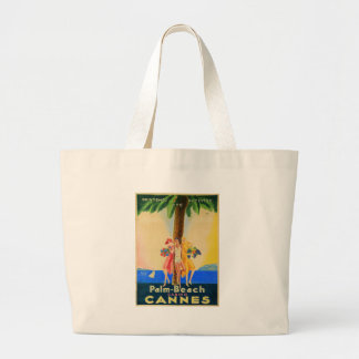Vintage Cannes French Travel Large Tote Bag