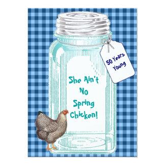 """Vintage Canning Jar Blue Gingham Design 5.5"""" X 7.5"""" Invitation Card"""