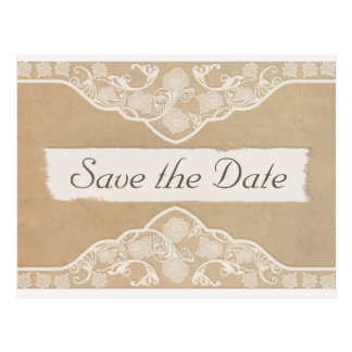 Vintage Canvas, Paper & Lace Look Save the Date Postcard