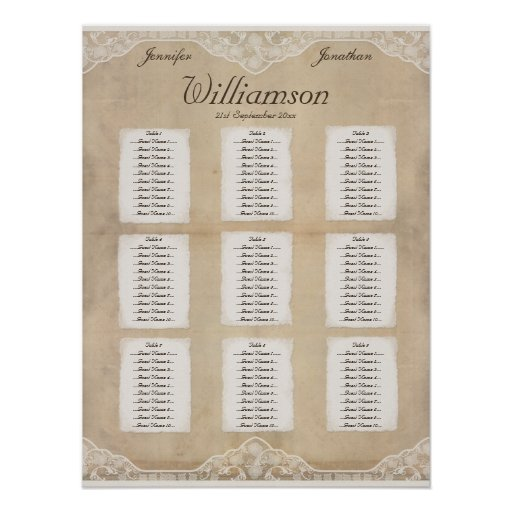 Vintage Canvas, Paper & Lace Look Seating Chart 4 Posters