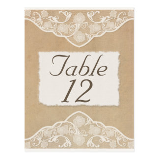 Vintage Canvas, Paper & Lace Look Table Number Postcard