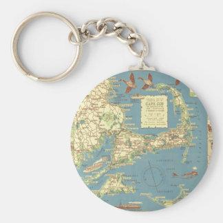 Vintage Cape Cod Map (1940) Key Ring