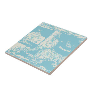 Vintage Cape Cod Map Ceramic Tile