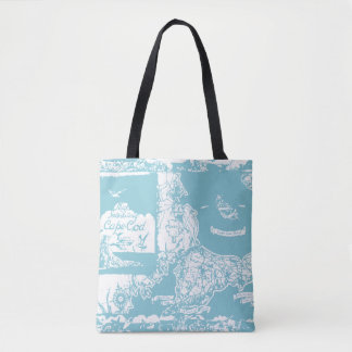 Vintage Cape Cod Map Tote Bag