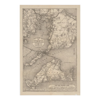 Vintage Cape Cod Old Colony Line Map (1888) Poster