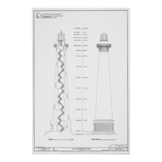 Vintage Cape Hatteras Lighthouse Blueprint Poster