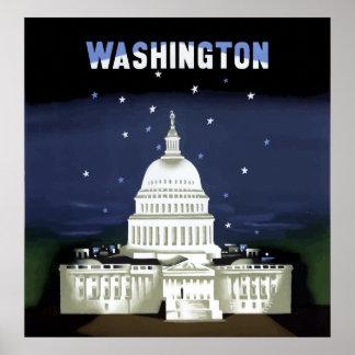 Vintage Capitol Building Washington DC Travel Poster