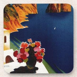 Vintage Capri Italy Travel Drink Coasters