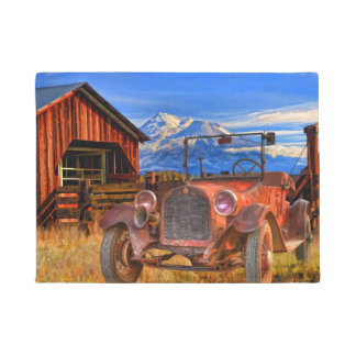 VINTAGE CAR AND MOUNT SHASTA DOORMAT