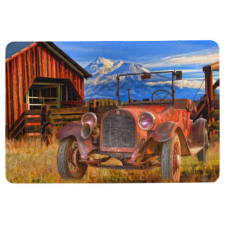 VINTAGE CAR AND MOUNT SHASTA FLOOR MAT
