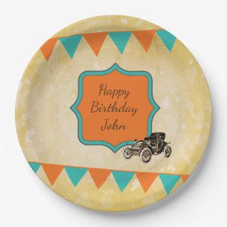 Vintage Car Birthday Celebration Paper Plate