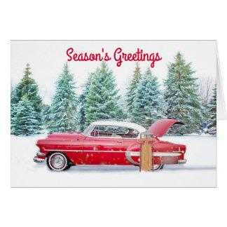 Vintage Car Christmas Card