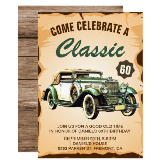 Vintage Car Classic Birthday Party Invitation