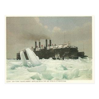 Vintage Car Ferry, Straits of Mackinaw, Michigan Postcard