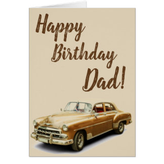 Vintage Car Happy Birthday Card for Dads!