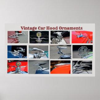 Vintage Car Hood Ornaments Poster