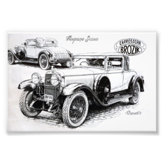 Vintage car illustration photo print