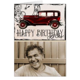 Vintage Car Lover | Happy Birthday Old Chap Photo Card