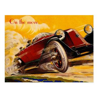 Vintage car racing poster postcard