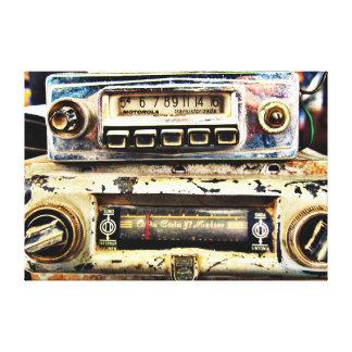 Vintage car radios stretched canvas print