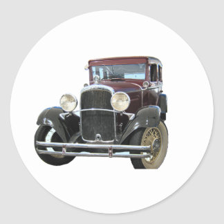 vintage car round sticker