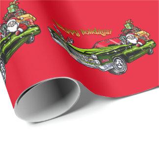 Vintage Car Santa Wrapping Paper