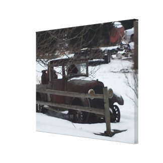 Vintage Car Snow Fence Stretched Canvas Print