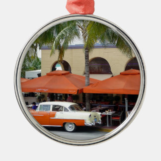 Vintage Car South Beach Florida Silver-Colored Round Decoration