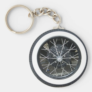 Vintage Car Tile Wheel Round Keychain