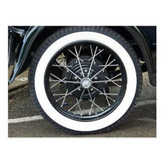 Vintage Car Tire Post Card