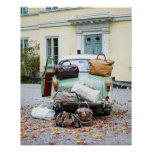 Vintage car with lots of luggage poster